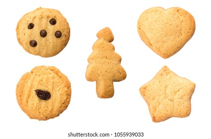 set of bakery cookies isolated on white background.