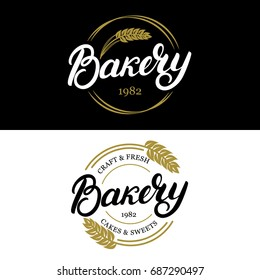 Set of Bakery hand written lettering logo, label, badge, emblem. Vintage style. Golden wheat. Isolated on background.