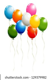 Set of balloons isolated on white