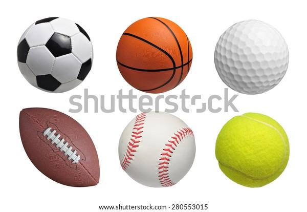 Set of balls isolated on white background