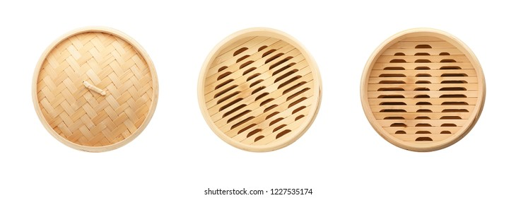 Set with bamboo steamer on white background, top view