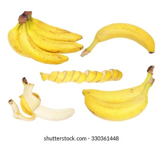 Set of bananas isolated on white background,  with clipping path
