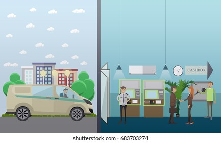 Set of banking concept design elements in flat style. Bank employees, security guard, customers, ATM, safe, collector, armored car.