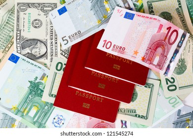 set of banknote background and passports