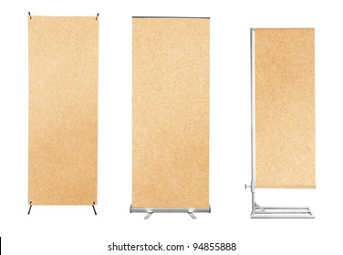 Set of banner stand display with Brown paper background ready for use