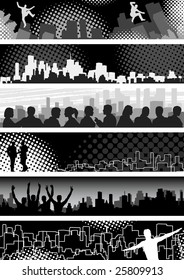 Set of banners on urban theme. Vector file available.