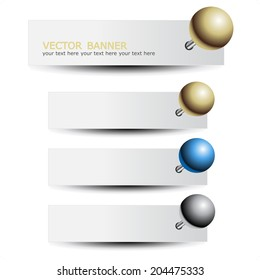 set of banners with pushpin, headers for advertising text