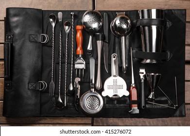 Set of barman equipment in black case