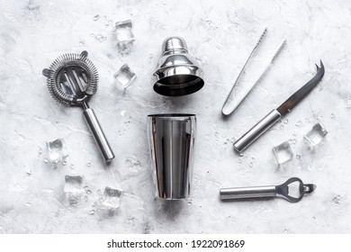 Set of bartender tools and accessories with a cocktail shaker