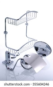 Set bathroom objects,bracket for soap, chrome shelf, hooks for towels, soap-dish