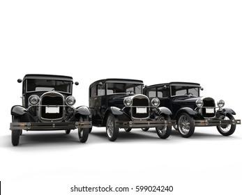 Set of beautiful 1920s vintage cars - 3D Render
