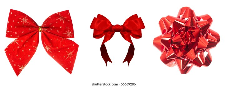 Set of beautiful bright red bows isolated over white background