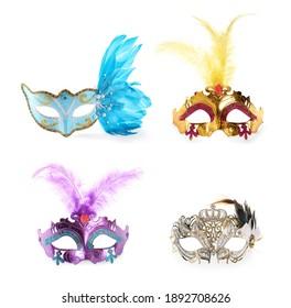 Set of beautiful carnival masks on white background