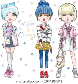 SET of beautiful fashion hipster girl in winter clothes, sneakers, jacket and hat with bag