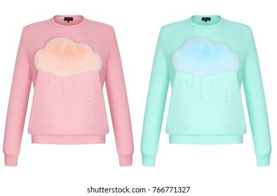 Set, beautiful fashionable clothes, luxurious fashionable women's sweatshirt with fur cloud and rain made of crystal, pink and turquoise, mockup, clipping, isolated on white background