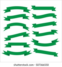 Set of beautiful festive green ribbons. Elements for your design illustration