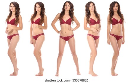 Set of Beautiful full body brunette beauty woman in red sexy underwear, isolated on white