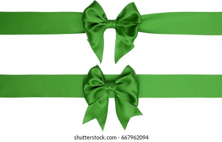 Set of beautiful gift bows and ribbons on white background