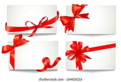 Set of beautiful gift cards with red gift bows with ribbons. Raster version