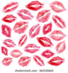 Set of beautiful lipstick mark on white background.