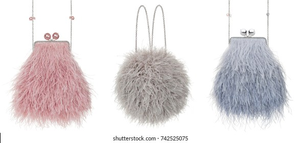 Set, beautiful luxury bag of ostrich feathers on a white background with beads, gray, pink and gray-blue, clipping, isolated