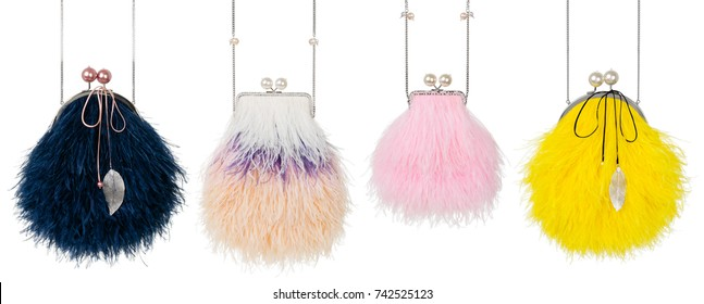 Set, beautiful luxury bag of ostrich feathers on a white background with beads, black, miscellaneous, pink and yellow, clipping, isolated