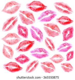 Set of beautiful many colour lipstick mark on white background.