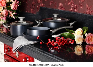 set of beautiful pots in the interior of the kitchen