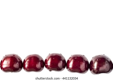 Set of beautiful red cherry isolated on white background. For background