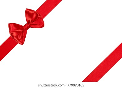 Set of beautiful satin red ribbon bow with ribbons isolated on white background