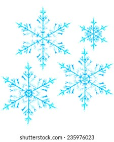 set of beautiful snowflakes isolated on white, watercolour drawing