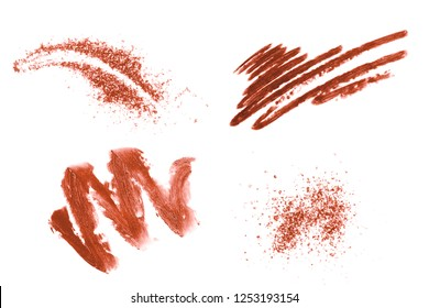 Set of beautiful textured living coral strokes isolated on white background Color of the year 2019. Main trend concept.