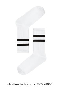 Set, beautiful white long sports socks with black stripes, isolated on white background, clipping, layout