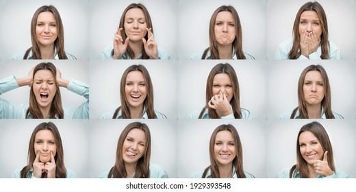 Set of beautiful woman showing several different facial emotions or expressions and gestures isolated on gray background. Collage of human emotions - Shutterstock ID 1929393548