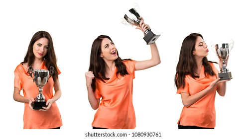 Set of Beautiful young girl holding a trophy