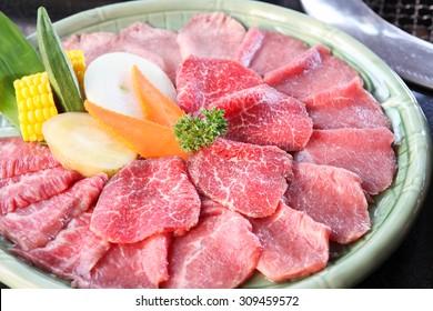Set of beef for Sukiyaki or Yakiniku (Japanese Food)