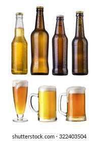 set of Beer bottles with water drops anbd beer glasses on white background.Five separate photos merged together.