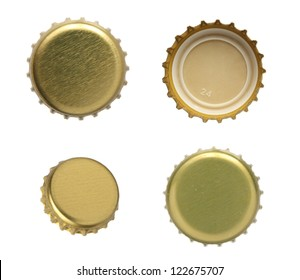 Set of beer caps on a white background.