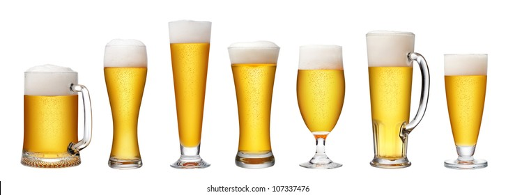 set of beer glass on a white background,