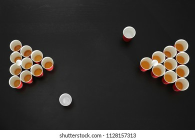 Set for beer pong game on table