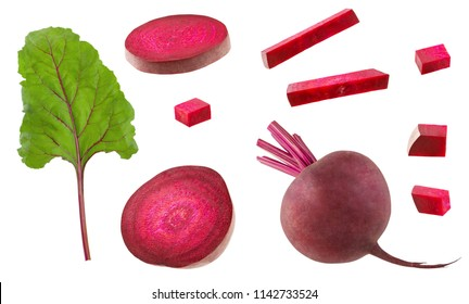 Set of beet slices, whole beetroot and green fresh leaf for design isolated on white background