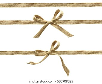 Set of beige canvas ribbons and a bows isolated on white