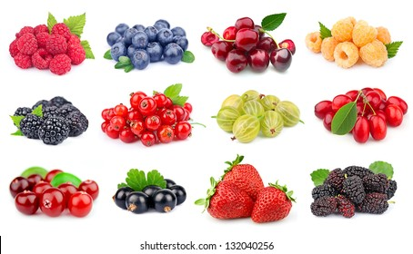 Set of berry on white close up