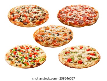 Set of the best Italian pizzas isolated on white background