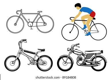 set bicycle on white background