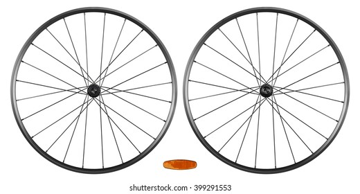 set of bicycle rims isolated on white background