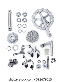 Set of bicycle spare parts on white background