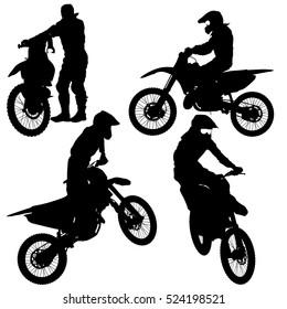 Set of biker motocross silhouettes, illustration.