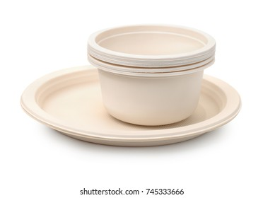 Set of biodegradable plastic dishware isolated on white