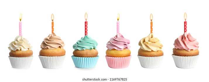 Set with birthday cupcakes and burning candles on white background